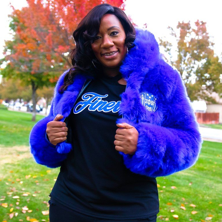 Zeta Phi Beta Crop Fur Coat - Blue
