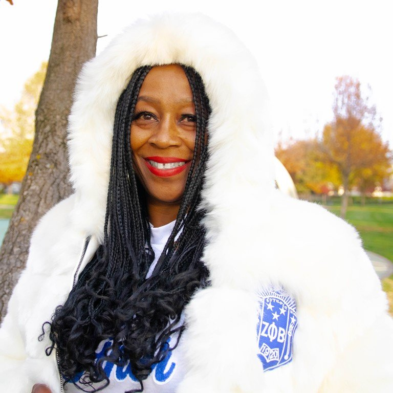Zeta Phi Beta Crop Fur Coat - White